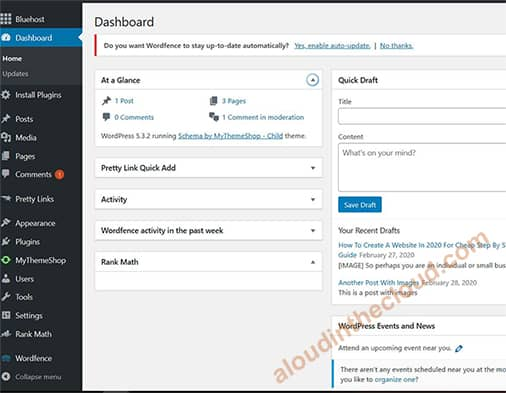 Tableau de bord Bluehost Wordpress
