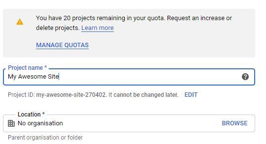 Saisissez le nom du projet Google Cloud