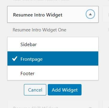 Expand the widget and select Frontpage
