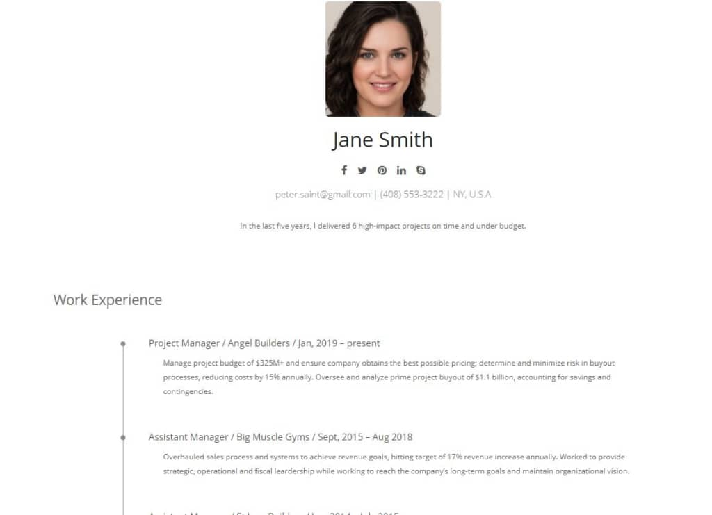 Resume showing the head shot with work experience