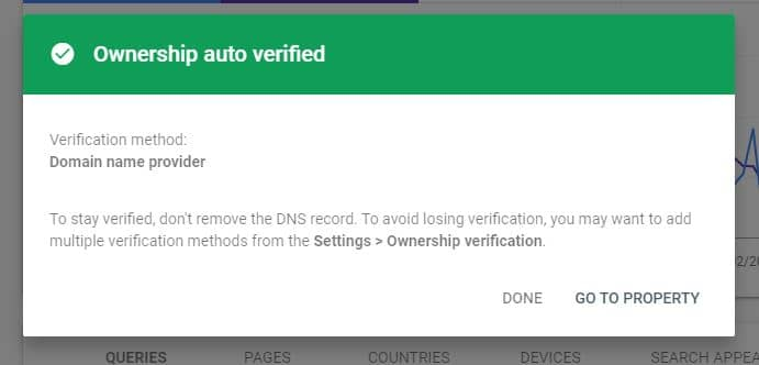 Successful domain verification!