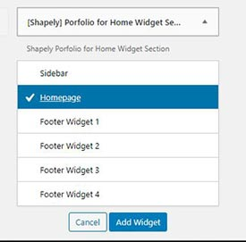 Add portfolio widget to Homepage