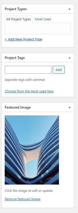 Project Types, Project Tags and Featured Image
